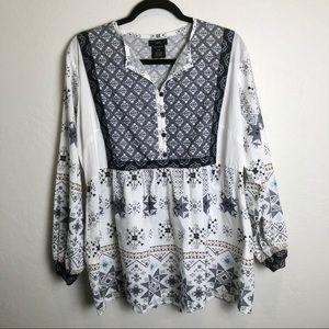 Ellos White And Gray Southwest Print Cotton Tunic